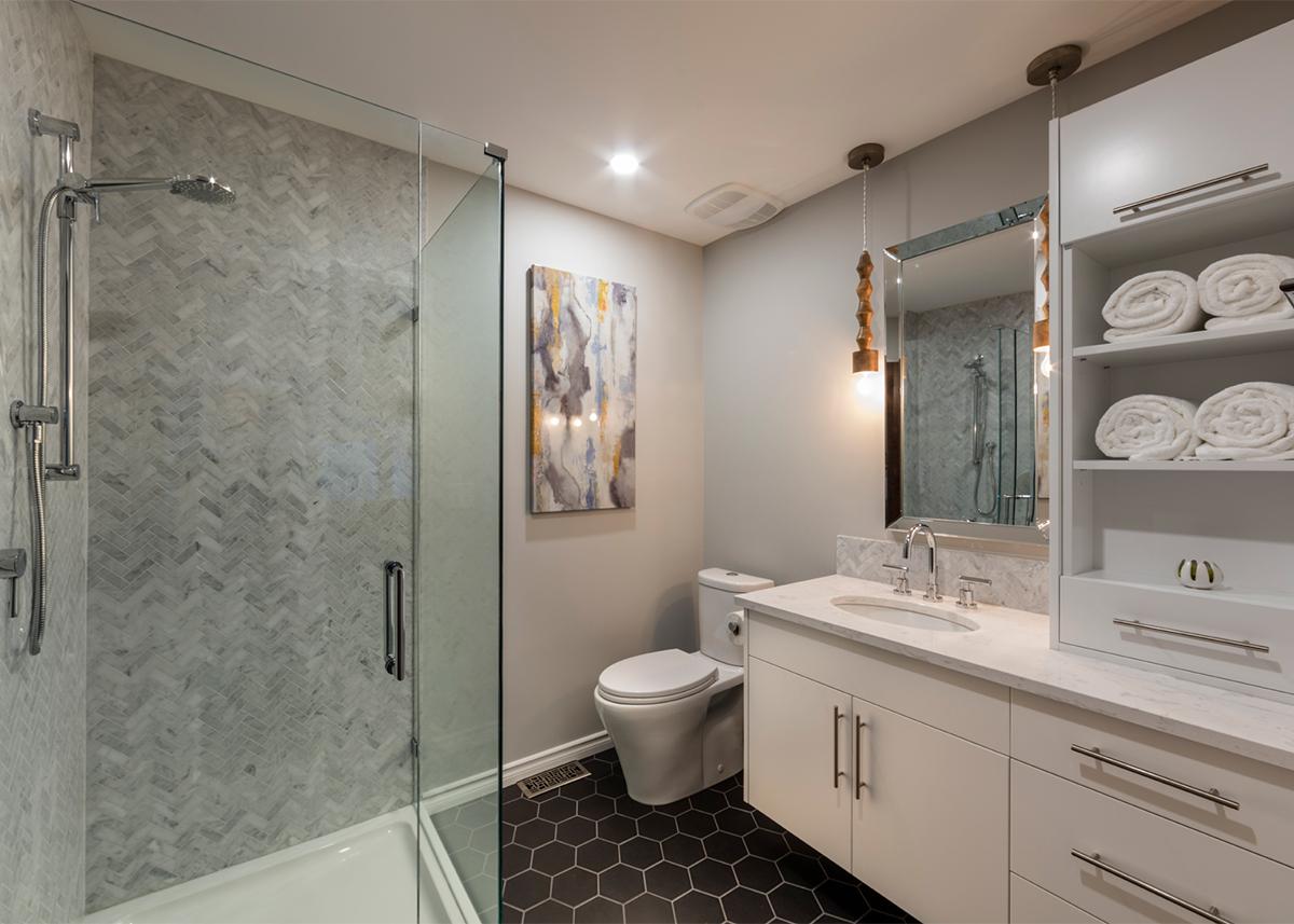 Mid-century condo - upstairs bathroom after | Creative Touch Kelowna Interior Design